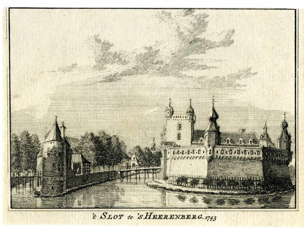 Kasteel Huis Bergh in `s Heerenberg. Tekening Jan de Beijer, gravure Hendrik Spilman (Uit: Het Verheerlykt Nederland, Isaac Tirion, 1745/1774)